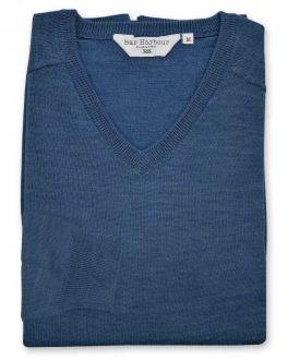 Denim Blue Long Sleeve V-Neck Merino Blend Jumper