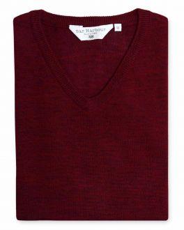 Claret Red Long Sleeve V-Neck Merino Blend Jumper