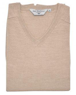 Beige Sleeveless V Neck Sweater