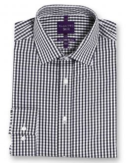 Slim Fit Grey Check Luxury Pure Cotton Non-Iron Shirt