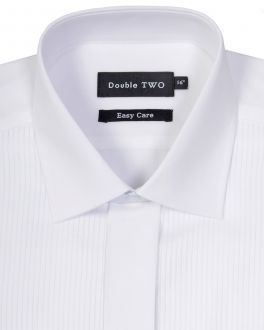 White Ribbed Piqué Evening Dress Shirt