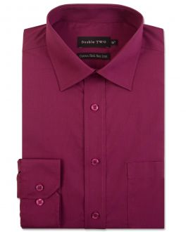 Wine Long Sleeve Non-Iron Shirt