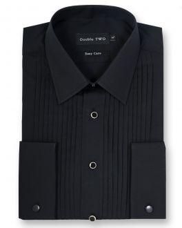 Black Stitch Pleat Dress Shirt