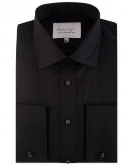 Black Double Cuff Pure Cotton Non Iron Shirt