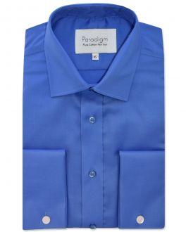 Cobalt Blue Double Cuff Pure Cotton Non Iron Shirt