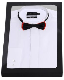 White Wing Collar Dress Shirt and Bow Tie Set