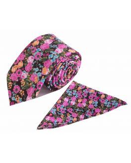 Pink Floral Cotton Tie and Handkerchief Set