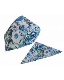 Blue Floral Cotton Tie and Handkerchief Set