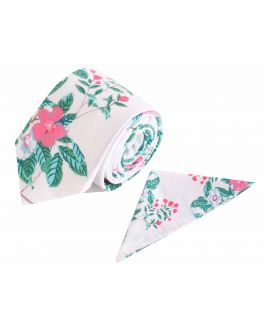 White Flower Patterned Cotton Tie and Handkerchief Set