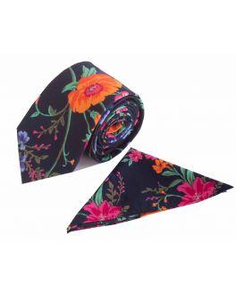 Navy Floral Cotton Tie and Handkerchief Set