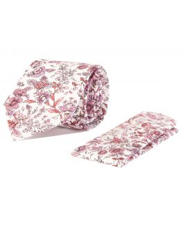 Pink and White Floral Cotton Tie and Handkerchief Set