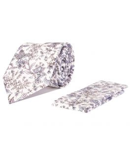 Lilac and White Floral Cotton Tie and Handkerchief Set