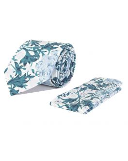 Teal and White Floral Cotton Tie and Handkerchief Set
