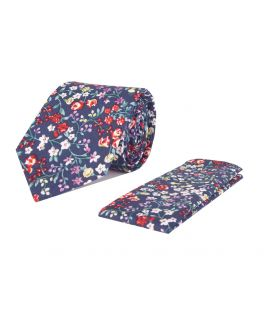 Blue and Red Floral Cotton Tie and Handkerchief Set