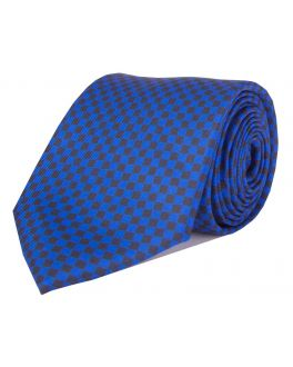 Navy Printed Check Patterned Tie