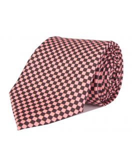 Pink Printed Check Patterned Tie