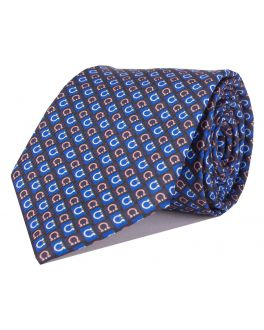 Navy and Pink Printed Horseshoe Patterned Tie