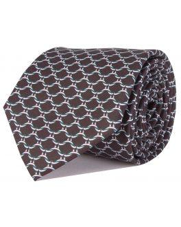 Black Printed Link Patterned Tie