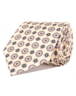 Beige Printed Multi-Patterned Tie