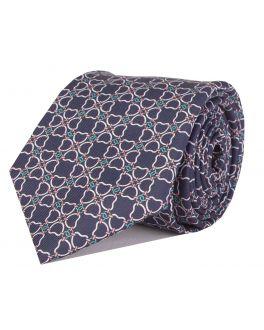 Navy Printed Multi-Link Patterned Tie