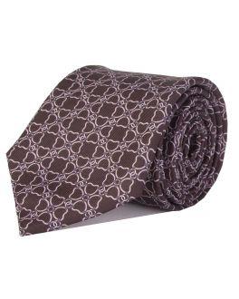 Black Printed Multi-Link Patterned Tie