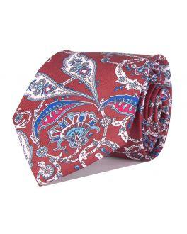 Wine Printed Paisley Patterned Tie