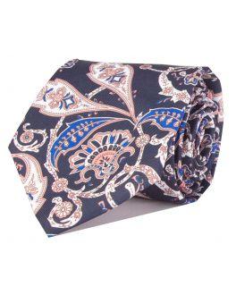 Navy Printed Paisley Patterned Tie