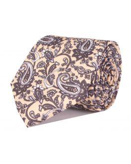 Beige & Black Printed Paisley Patterned Tie