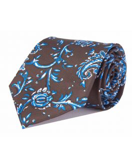 Brown & Light Blue Printed Paisley Patterned Tie