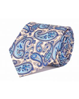 Beige & Light Blue Printed Paisley Patterned Tie