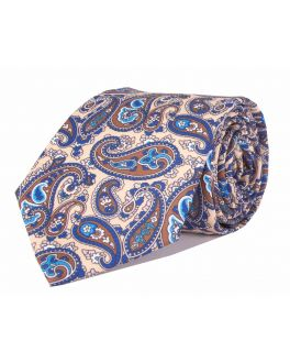 Beige & Brown Printed Paisley Patterned Tie