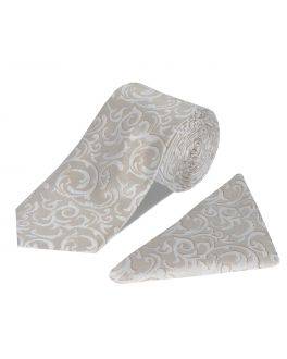 Cream Tie and Pocket Square Set