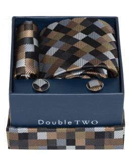 Brown Check Tie, Cufflinks and Handkerchief Set