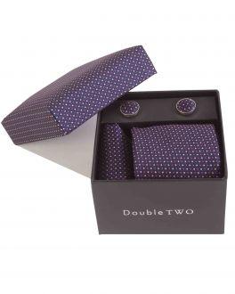 Purple Pin Dot Tie, Handkerchief and Cufflink Gift Set