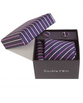 Purple Stripe Tie, Handkerchief and Cufflink Gift Set