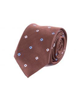 Brown Flower Patterned Silk Tie