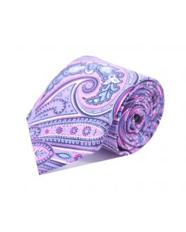 Pink, Navy and Sky Blue Paisley Silk Tie