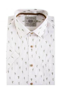 White Cactus Print Short Sleeve Casual Shirt