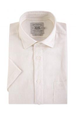 Ivory Linen Blend Short Sleeve Casual Shirt