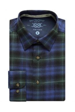 Blue and Green Check Brushed Cotton Casual Shirt