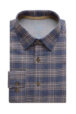 Blue Check Brushed Cotton Casual Shirt