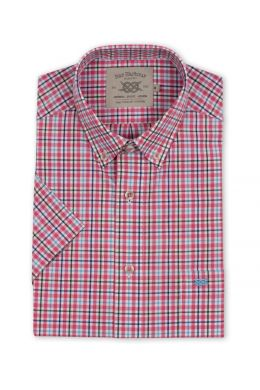 Pink, Navy and Blue Multi Check Short Sleeve Casual Shirt