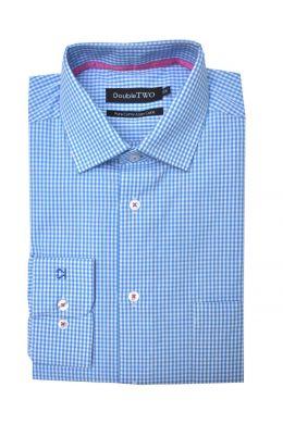 Pale Blue Check Pure Cotton Shirt