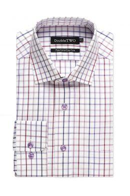 Plum Bold Window Check Formal Shirt