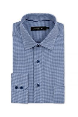Navy and White Textured Weave Print Formal Shirt