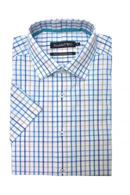 Aqua Summer Tattersall Check Short Sleeve Shirt