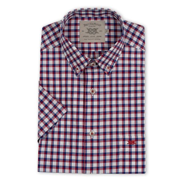 Burgundy and Blue Check Short Sleeve Casual Shirt