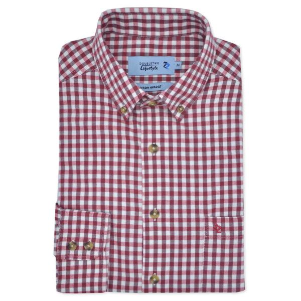 Red Gingham Check Long Sleeve Casual Oxford Shirt