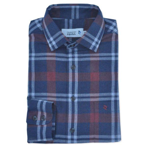 Slate Blue Herringbone Check Long Sleeve Casual Shirt