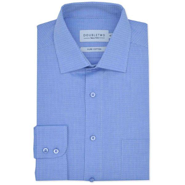 Blue Herringbone Weave Long Sleeve Formal Shirt